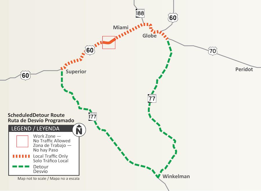 Map of US 60 detour