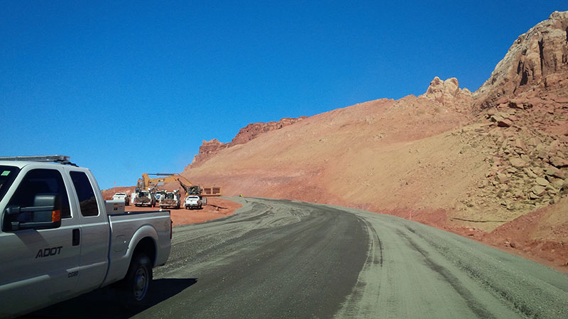 Truck on US 89 as repair work begins
