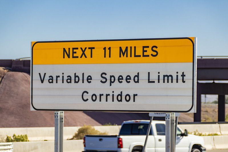 Variable speed limit corridor sign