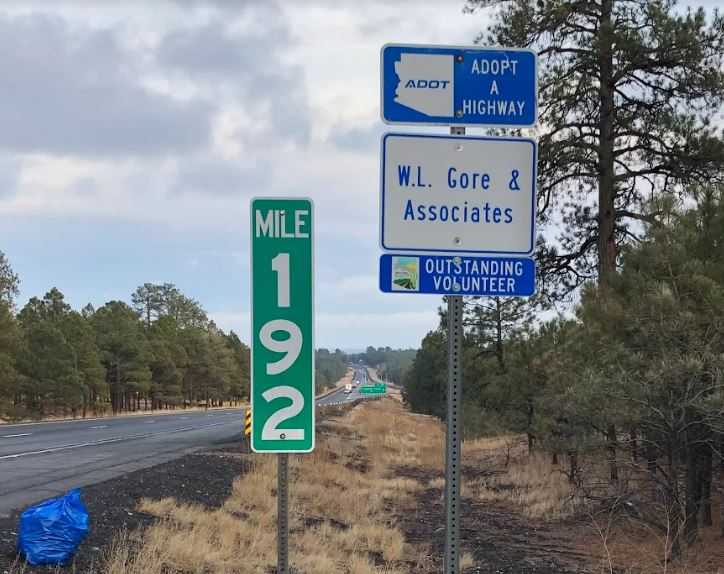 W.L. Gore and Associated Outstanding Adopt a Highway Volunteer sign