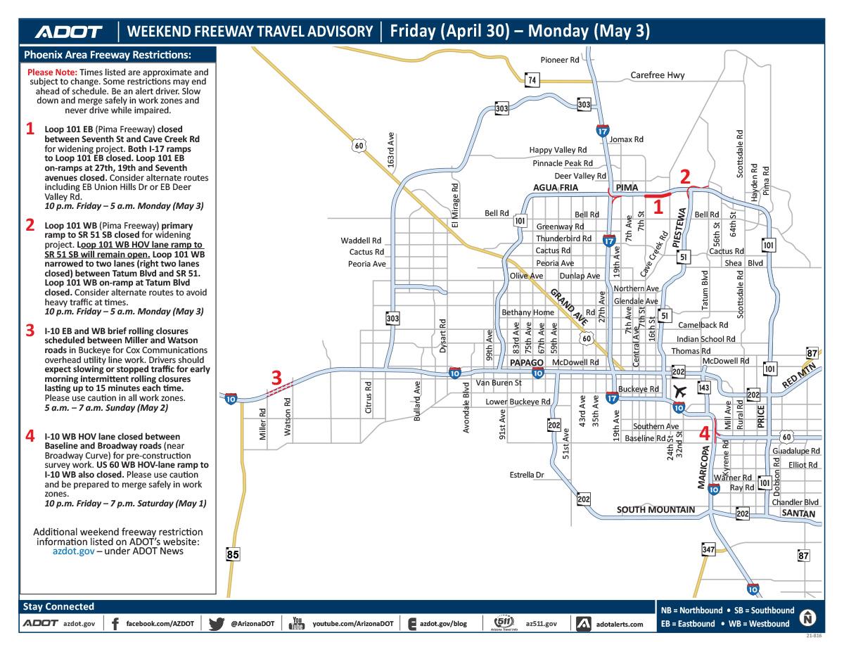 ADOT's Weekend Freeway Travel Advisory (April 30-May 3) - Phoenix area  ADOT