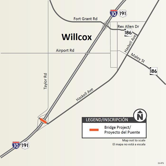 Map of I-10 interchange west of Willcox