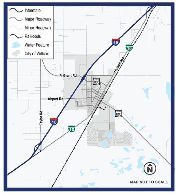 Map of Willcox traffic study area