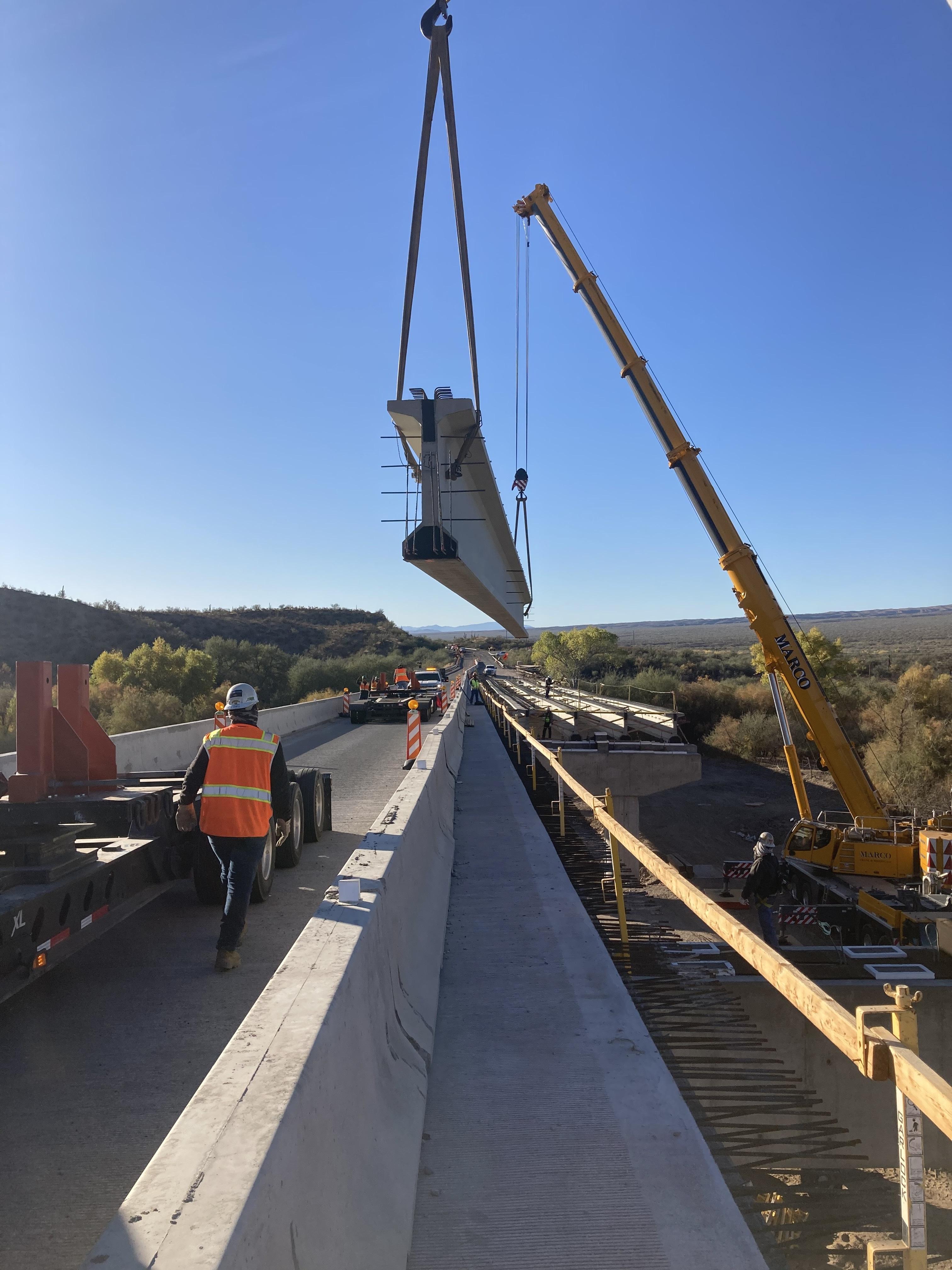 Winkelman bridge girder placement