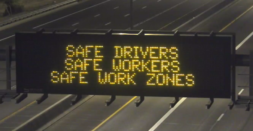 Work Zone Awareness overhead DMS board ADOT April 2021