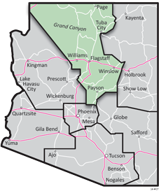 Northcentral District - ADOT Districts Map