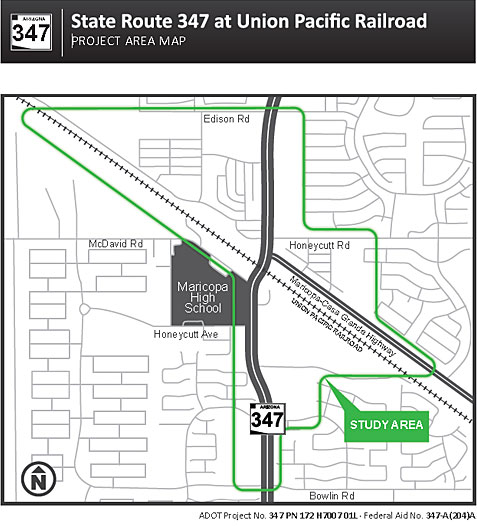 Map - SR 347 at Union Pacific Railroad   ADOT Map on
