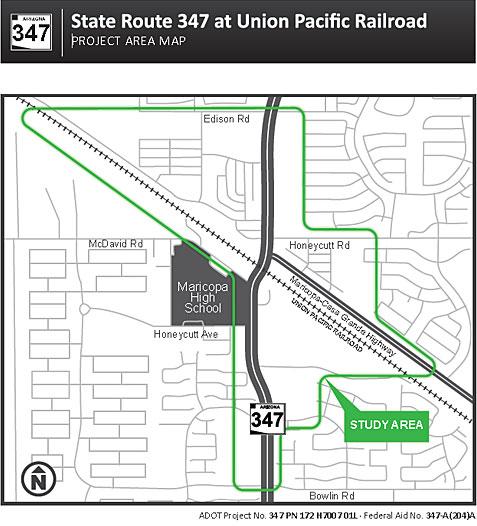 SR 347 at Union Pacific Railroad project area map