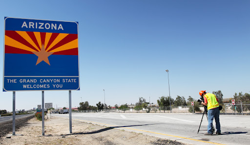 Welcome to Arizona sign being installed on I-8 near Yuma