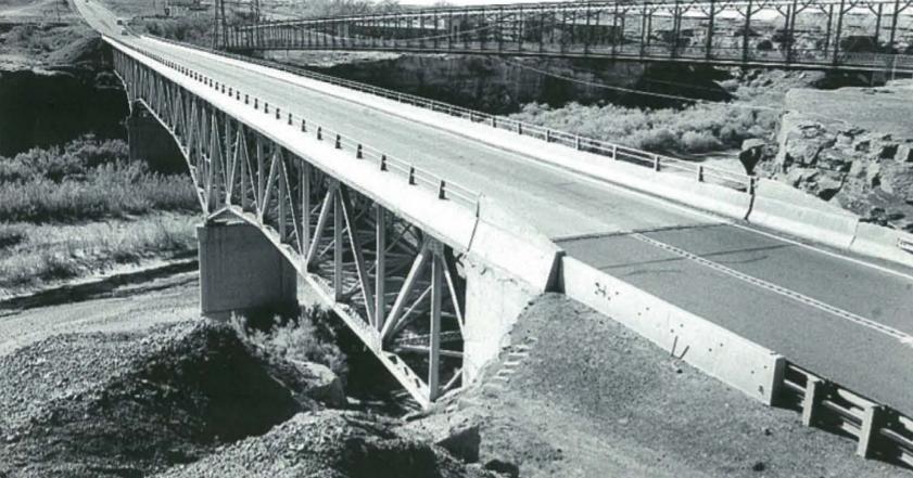 The bridge in 1956 was a steel, cantilevered truss bridge