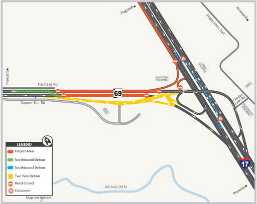 Project area map for Cordes Junction Traffic Interchange