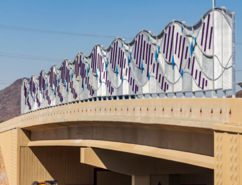 Artwork on new Happy Valley Road bridge at I-17