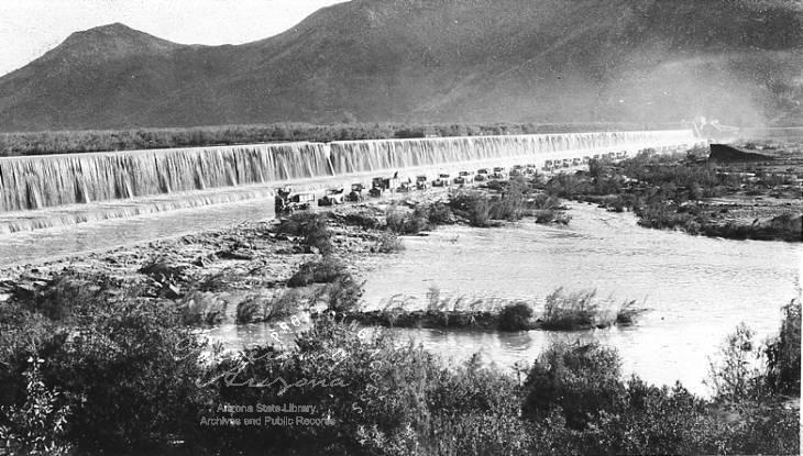 Highway across apron or Gillespie Dam
