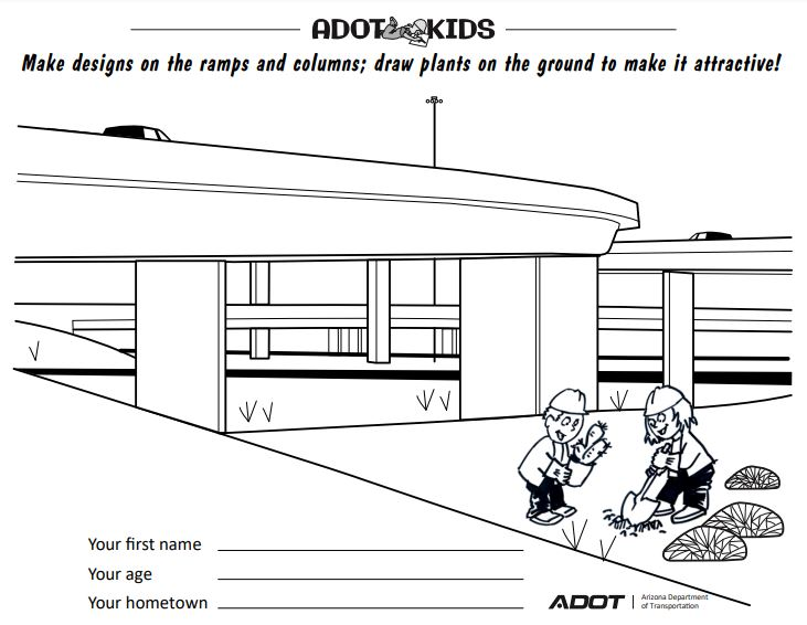 Freeway design activity coloring sheet