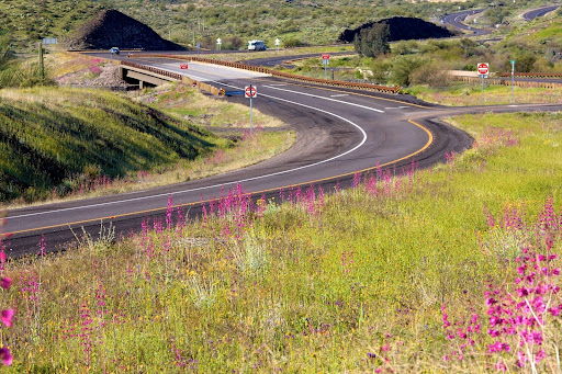 Gonzales Pass - An Arizona highway with spring flowers and rolling hills
