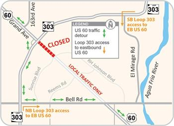 Detour Map: Grand Avenue will be closed betweenGrand Avenue Closure Detour Map Loop 303 and R.H. Johnson Boulevard/Sunrise Boulevard from 9 p.m. Friday, July 10, to 5 a.m. Monday, July 13, 2015.