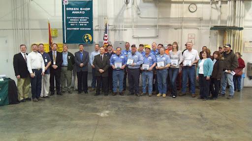 Equipment Services Green Shop (environmentally conscious) Award Recipients