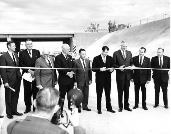 Justin Herman, second from left, among officials dedicating the combined Black Canyon–Maricopa freeway from 16th Street to SR 74.  Today, of course, we know it better as Interstate 17.