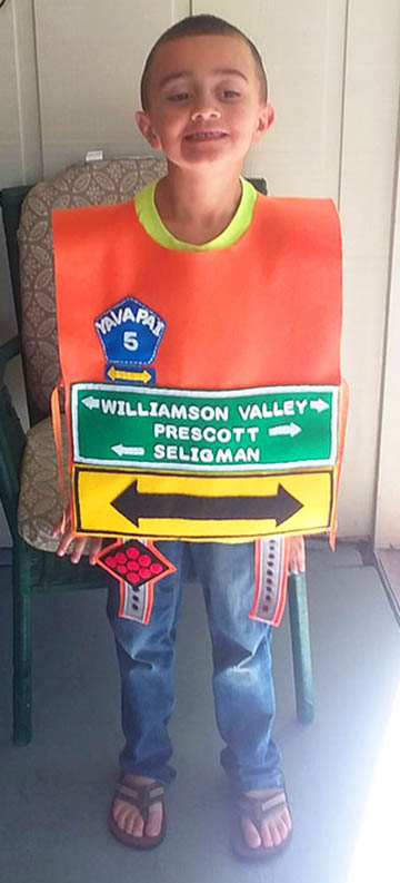Boy dressed as highway sign