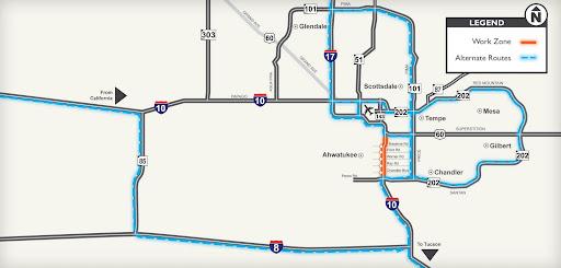 I-10 Detour Map
