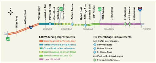 Project Map for I-10 (Papago Freeway) in West Valley