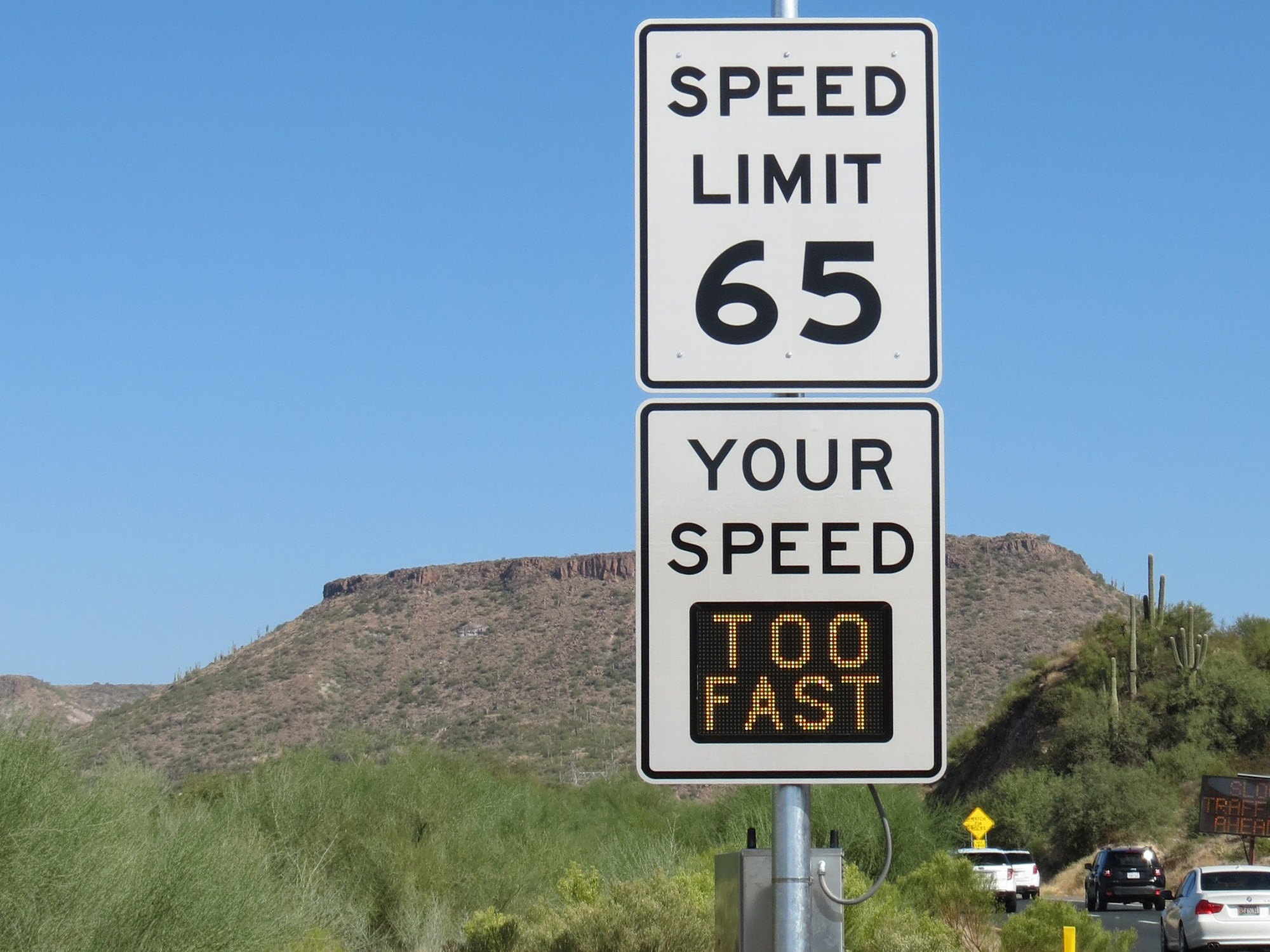 Speed Limit sign with speed-feedback message