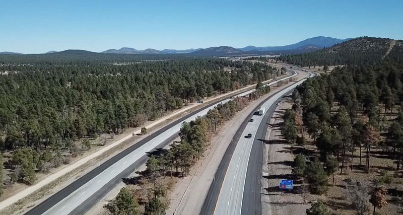 Aerial view of I-40 at Devil Dog