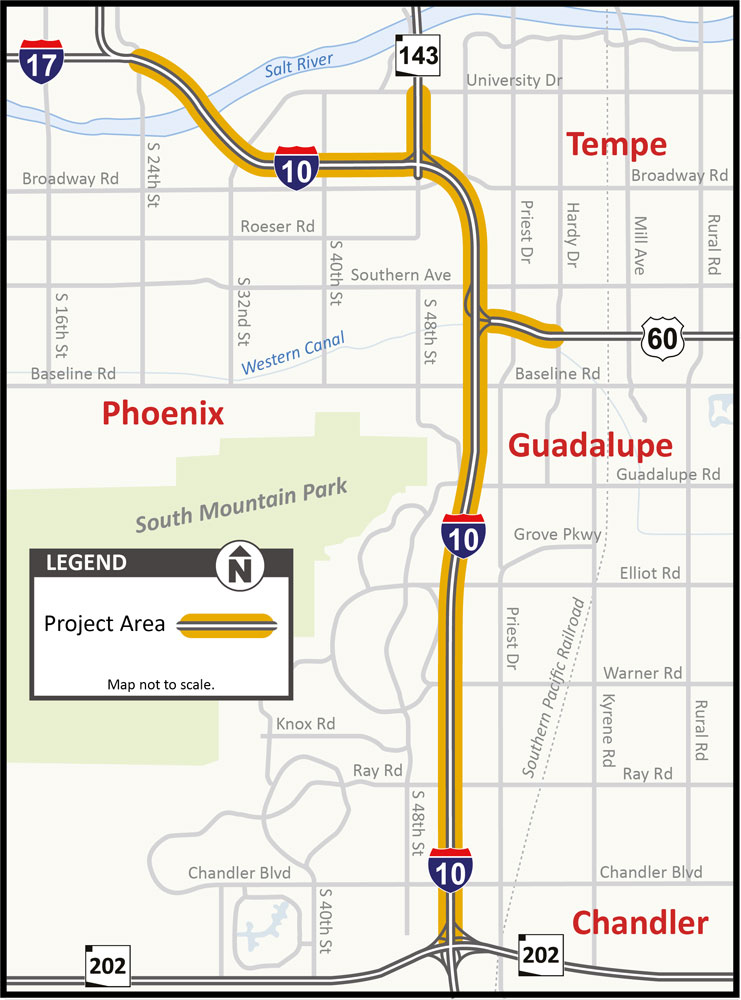 I-10 Broadway Curve Project Map
