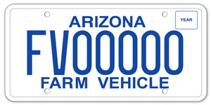 Farm Vehicle License Plate
