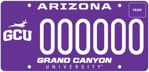 Grand Canyon University License Plate