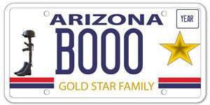 Gold Star motorcycle license plate
