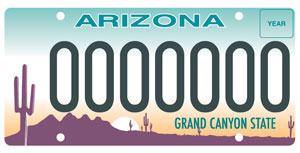 Standard Arizona License Plate