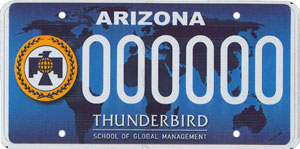 Thunderbird School of Global Management License Plate