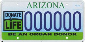 Transplantation Awareness (Organ Donor) License Plate