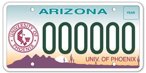 University of Phoenix License Plate