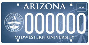 Midwestern University License Plate