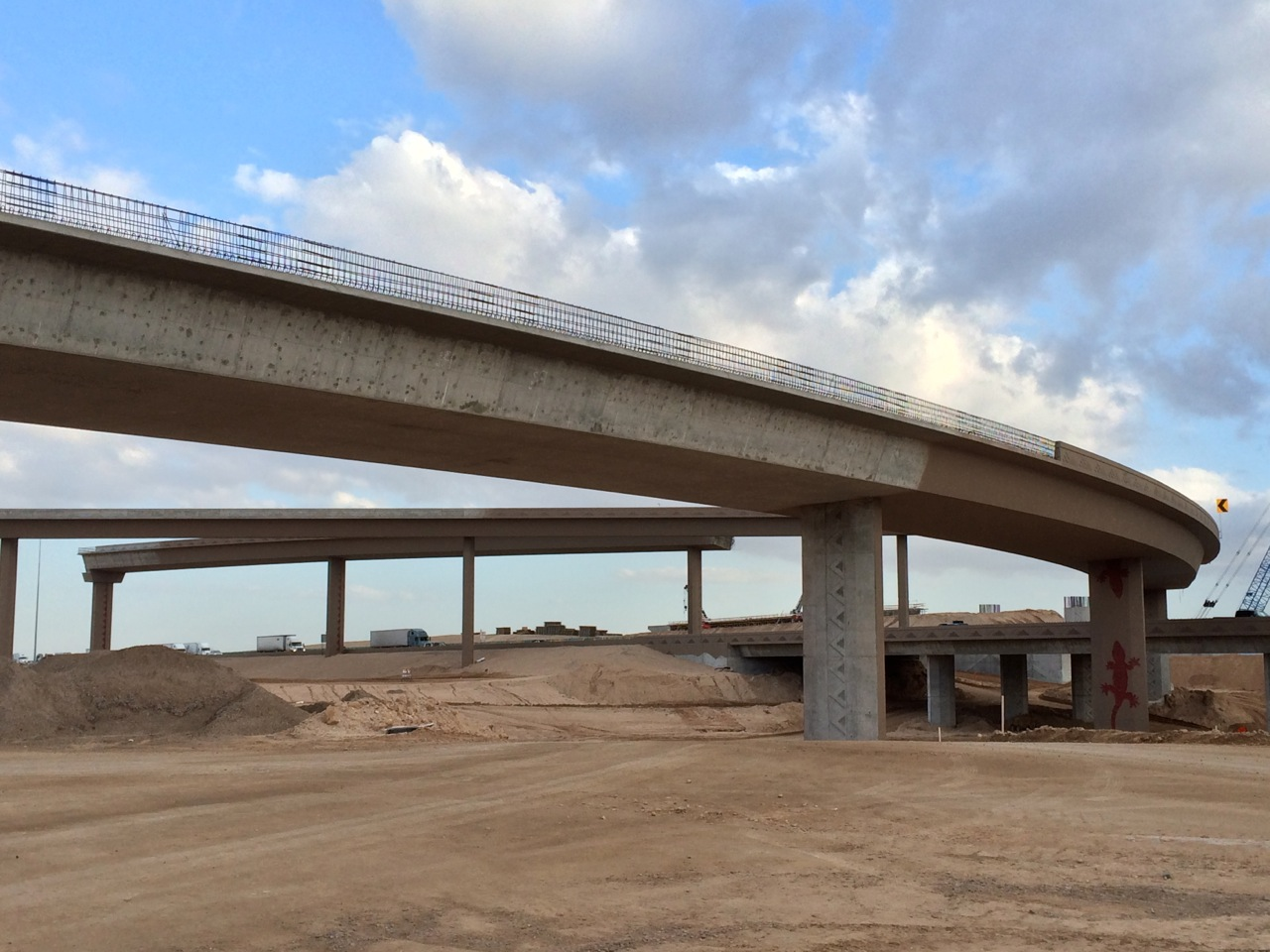 View of Loop 303 & I-10 Ramps under construction