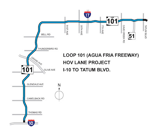 Loop 101 HOV Lane Project Map