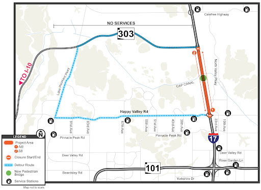 Map Of Loop 303 Arizona.I 17 Closures Slated Between Happy Valley Road And Loop 303