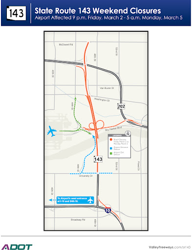 Map of weekend closures for SR 143 ramps to Sky Harbor Blvd