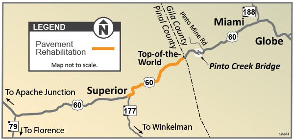Pavement rehabilitation project map US 60 between Superior and Top-of-the-World
