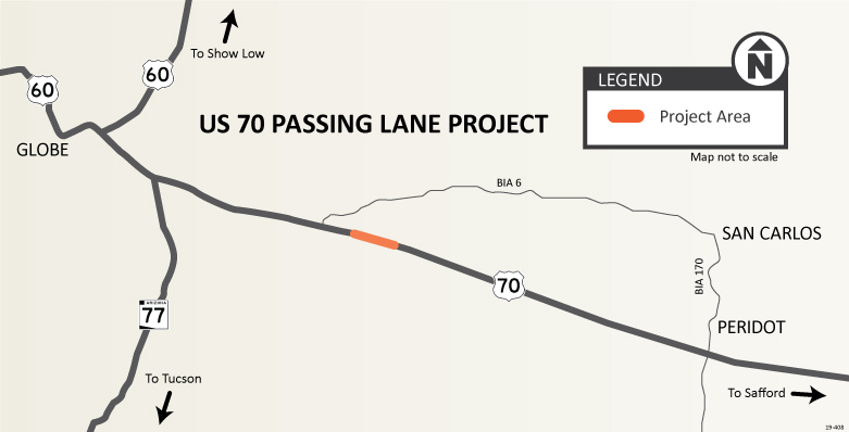 US 70 Passing Lane Project Map