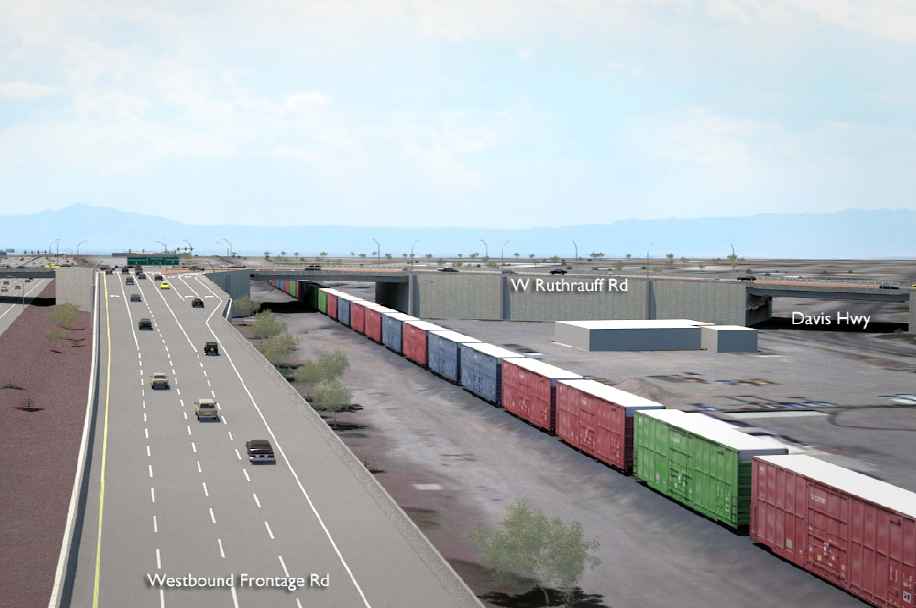 Rendering looking northwest toward the westbound frontage road