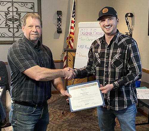 Jake Bottcher accepting Spirit Award
