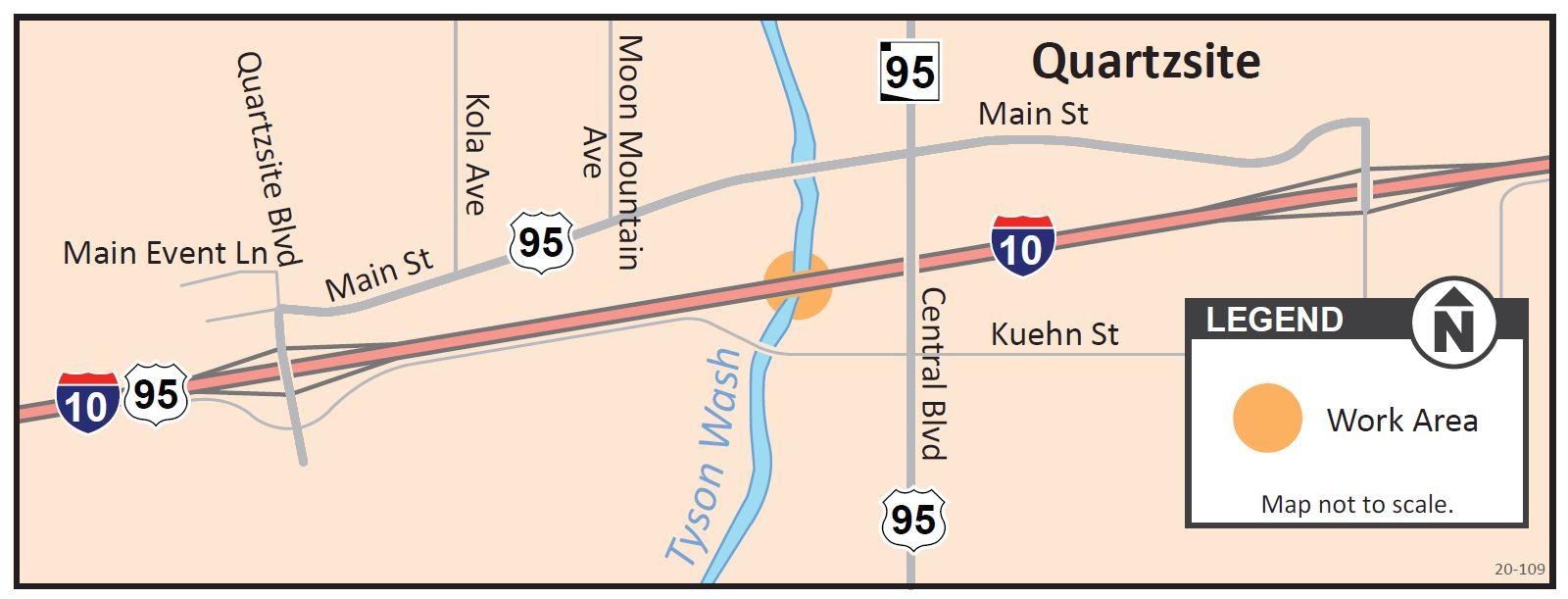 I-10 Tyson Wash Bridge project Map