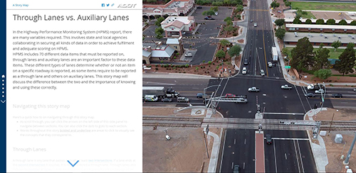 Through Lanes Vs. Auxiliary Lanes Storymap Screenshot