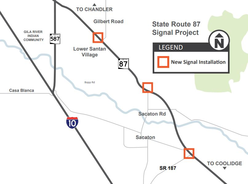 project map State Route 87 Signal Project near Sacaton