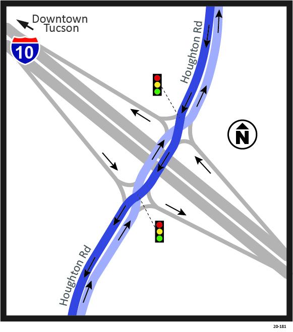 I-10 Houghton Diverging Diamond Map