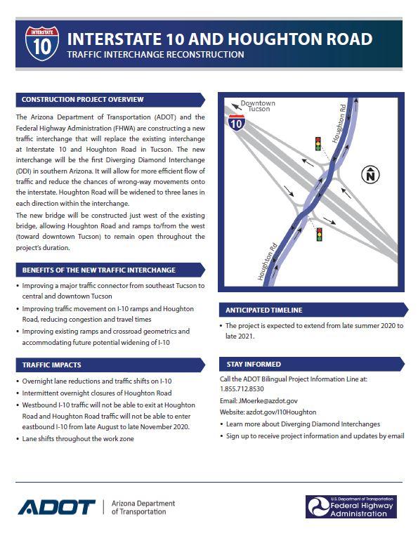 I-10 Houghton Diverging Diamond fact sheet