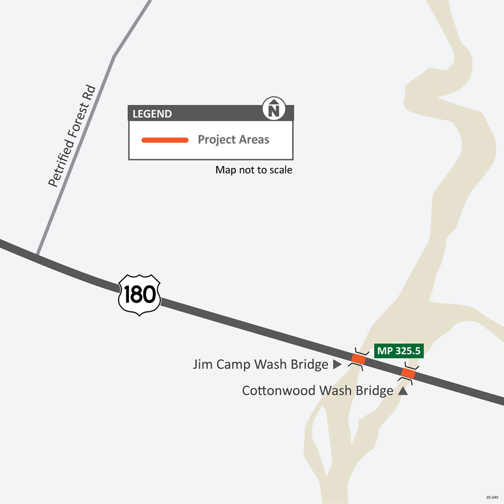 US 180 Jim Camp Wash Cottonwood Wash Bridges Map
